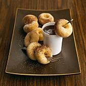 Mini doughnuts with chocolate sauce