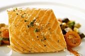 Salmone e caponata (Poached salmon with sweet & sour vegetables)
