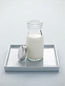 Milk in a small bottle