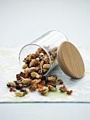 Trail mix in upset jar