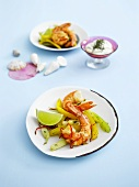 Chilli gambas with roasted vegetables & herb crème fraîche