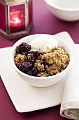 Berry crumble with vanilla ice cream