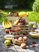 A selection of fruit on a terrace