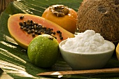 Exotic fruit and coconut on a banana leaf