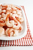 Frozen shrimps on a platter