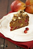A piece of cranberry pear cake