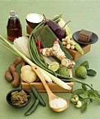 Still life of ingredients for Thai cuisine
