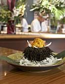 Sea urchin on strips of radish