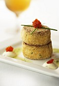 Crab cakes with caviar