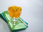 Peach jelly in a glass