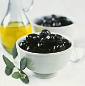 Pickled, black olives with olive sprig and olive oil