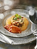 Appetiser: lobster with coriander and grapefruit
