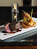 Surf and turf (Prawns and beef steak)