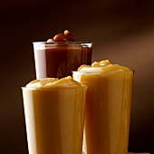 Caramel in three glasses