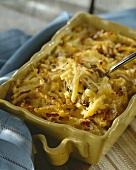 Macaroni cheese in a baking dish