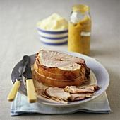 Roast ham with green tomato relish, mashed potato