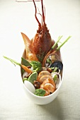 Lobster salad with vegetables and shellfish