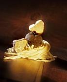 Black truffles on tagliatelle