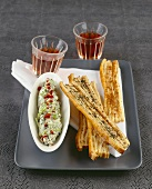 Spicy puff pastry straws with dip