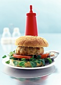 Poultry Burger with Vegetables and Chili Sauce