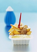 French Fries in Take Out Container with Plastic Fork