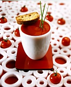 Tomato Soup in Cup with Slice of Bread