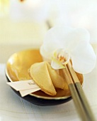 Asian table setting with fortune cookie and orchid