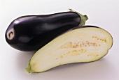 A Whole and Half Eggplant
