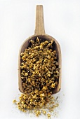 Dried Chamomile Blossoms in Wooden Scoop