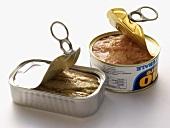 Thunfischdose und Sardinendose, teilweise geöffnet
