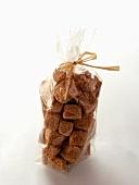 Brown Sugar Cubes in a Cellophane Bag