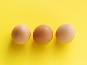 Three Brown Eggs on a Yellow Background