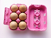 Half Dozen Brown Eggs in Pink Carton