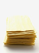 A Stack of Uncooked Lasagna Noodles