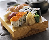 Assorted Sushi on Wooden Board