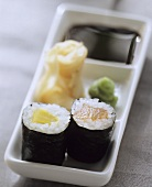 Sushi Plate of Maki, Gari and Dipping Sauce""
