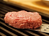 A Hamburger Patty on the Grill