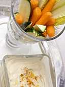 Sliced Vegetables in a Goblet and Dip