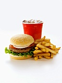 A Hamburger with Fries and a Drink