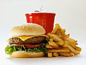 A Cheeseburger with Fries and a Drink