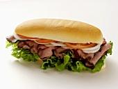 A Roast Beef Sandwich on a Sub Roll