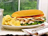 A Turkey Sub with Potato Chips