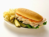 A Turkey Sub with Chips and Pickles