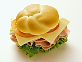 Ham, Cheese, Lettuce and Tomato on a Kaiser Roll