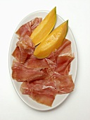 Sliced Procuitto and Melon on Plate