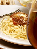 Spaghetti with Meat Sauce and a Glass of Red Wine