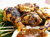 Barbecued Chicken Pieces with Dipping Sauce