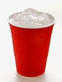 Red Plastic Cup with Ice