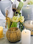 Forks in a Glass with Napkin; Candlelight