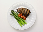 Rib Eye Steak with Asparagus and Cherry Tomatoes